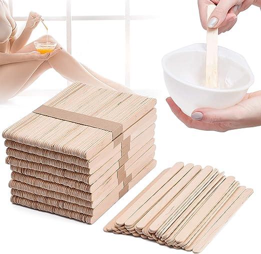 Noverlife 500 piezas palillos aplicadores de cera, palitos de paleta grandes, palitos de cera de cera artesanales de madera Espátula de cera para ...