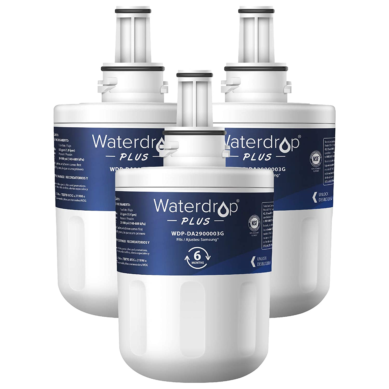 Waterdrop NSF 401&53&42 Certified DA29-00003G Replacement Refrigerator Water Filter, Compatible with Samsung DA29-00003G, Aqua-Pure Plus DA29-00003B, HAFCU1, DA29-00003A, Plus, Pack of 3