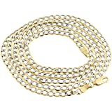 10K Yellow Gold 3.5mm Diamond Cut Curb Cuban Chain Necklace Lobster Clasp
