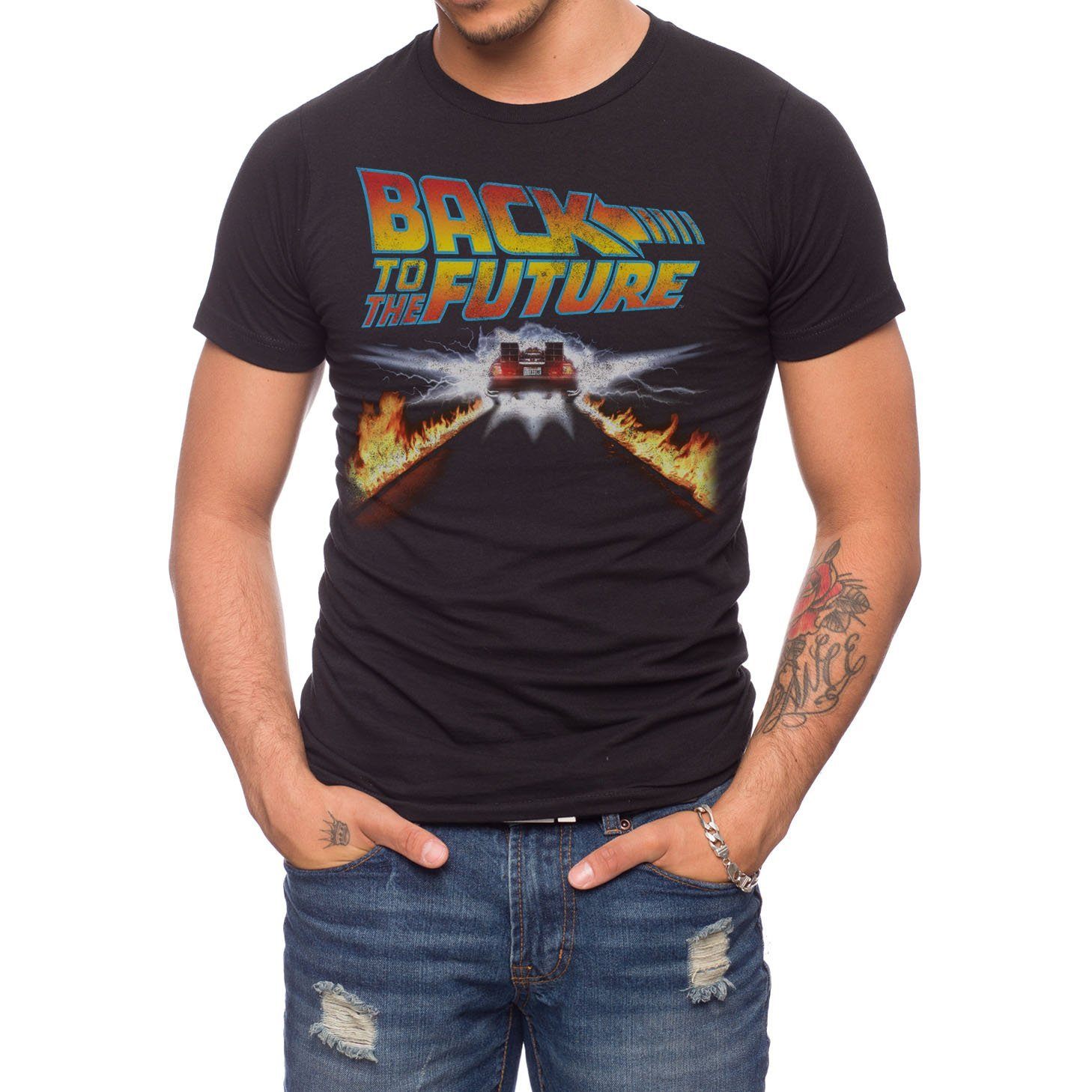 Jack Of All Trades Back to The Future Delorean Fire Tracks T-Shirt
