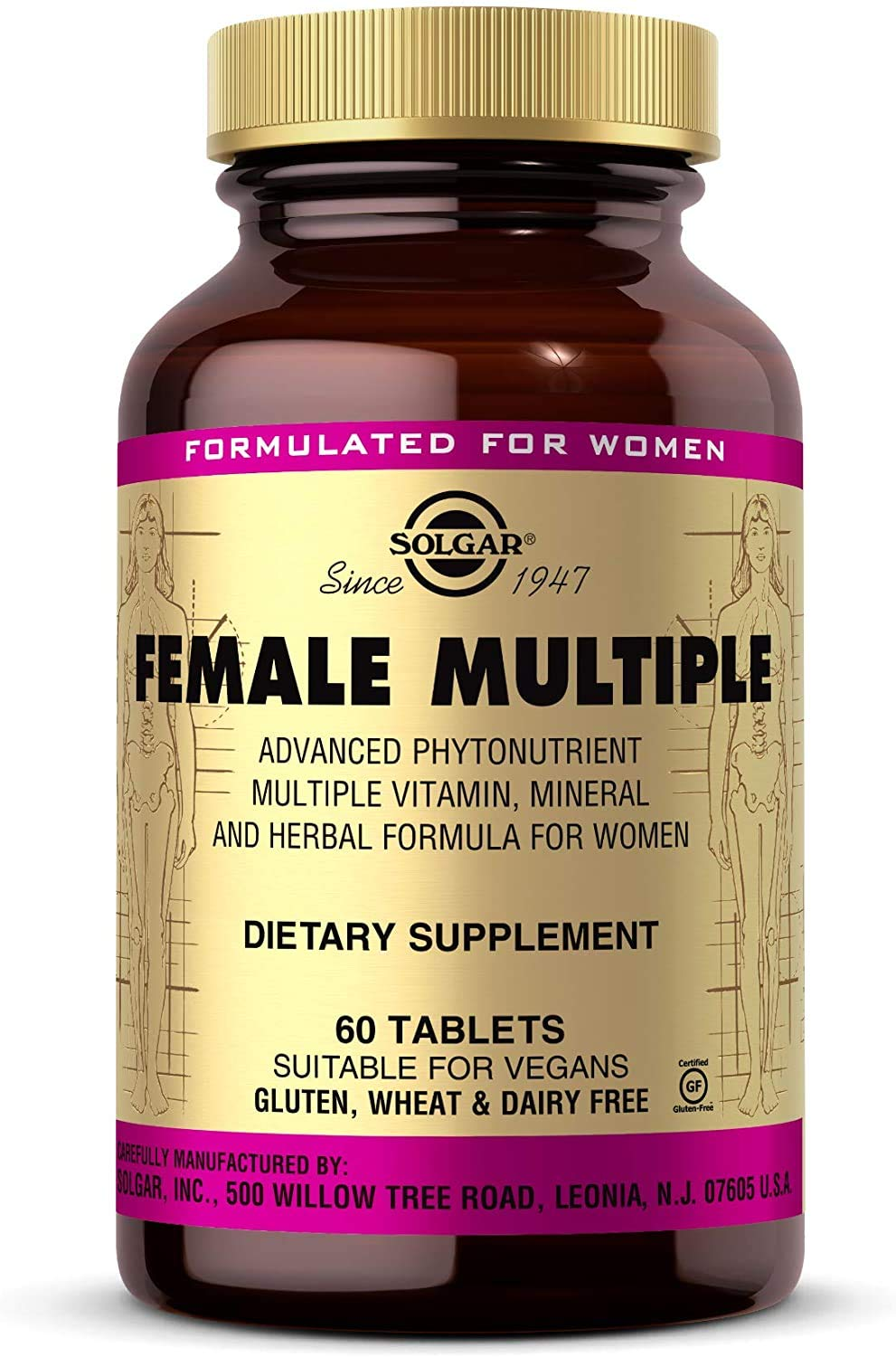 Solgar Female Multiple, 60 Tablets - Multivitamin, Mineral & Herbal Formula for Women - Advanced Phytonutrient - Vegan, Gluten Free, Dairy Free, Kosher - 20 Servings