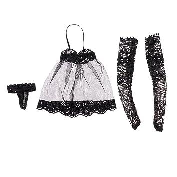 1//6 Deep V Black Long Dress Stockings Set for 12/'/' Female Body Accessories