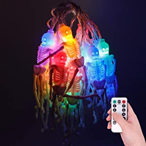 Halloween Skeleton Skull String Lights - 9.8ft/3m 20 LEDs Skeleton 8 Modes Waterproof Battery Operated String Lights with Remote Control for Decorations/Horror Nights/Home/Room/Patio/Garden - Colorful