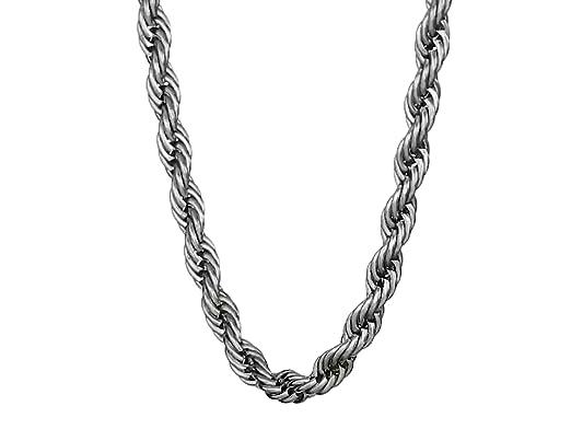 Amazon.com: Acero inoxidable Cuerda collar de cadena de los ...