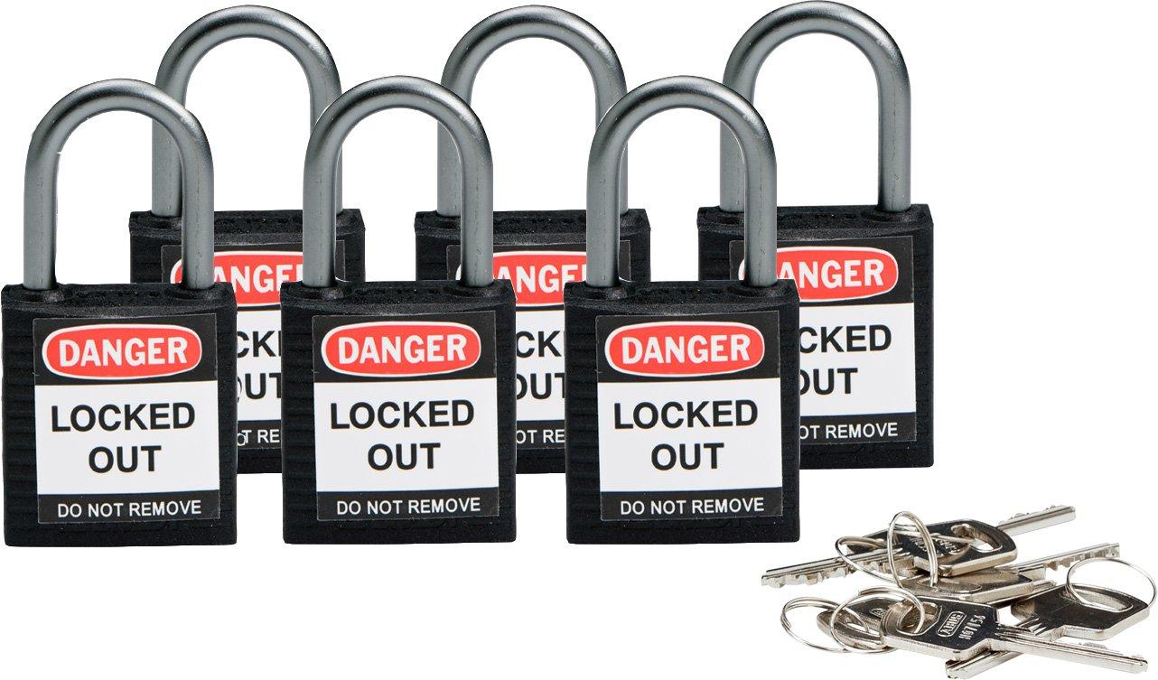 Brady  Compact Safety Lock - Black, Keyed Differently (6 Locks) - 118934