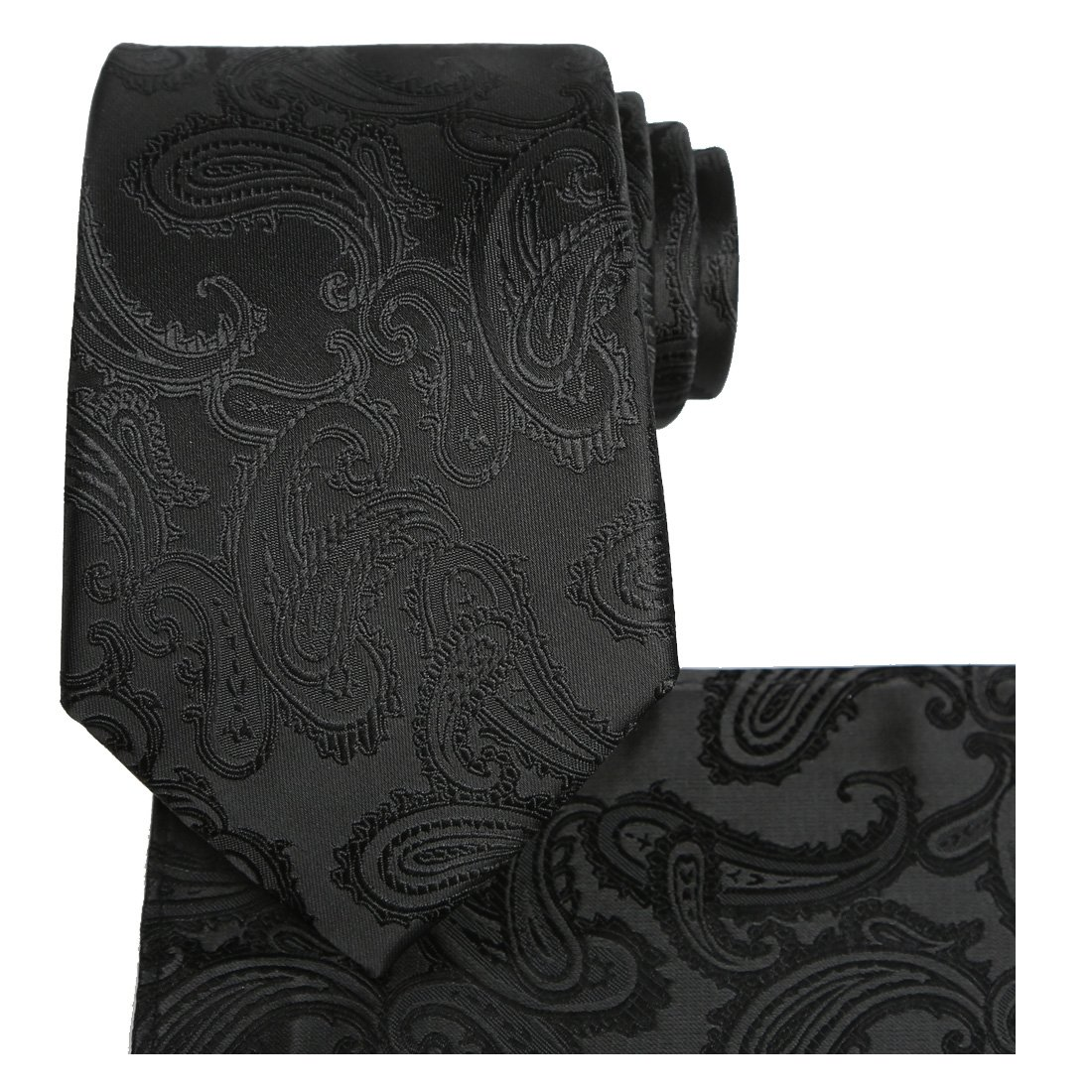 KissTies Extra Long Tie Set: Black Paisley Necktie + Hanky + Gift Box (63'' XL) by KissTies (Image #1)