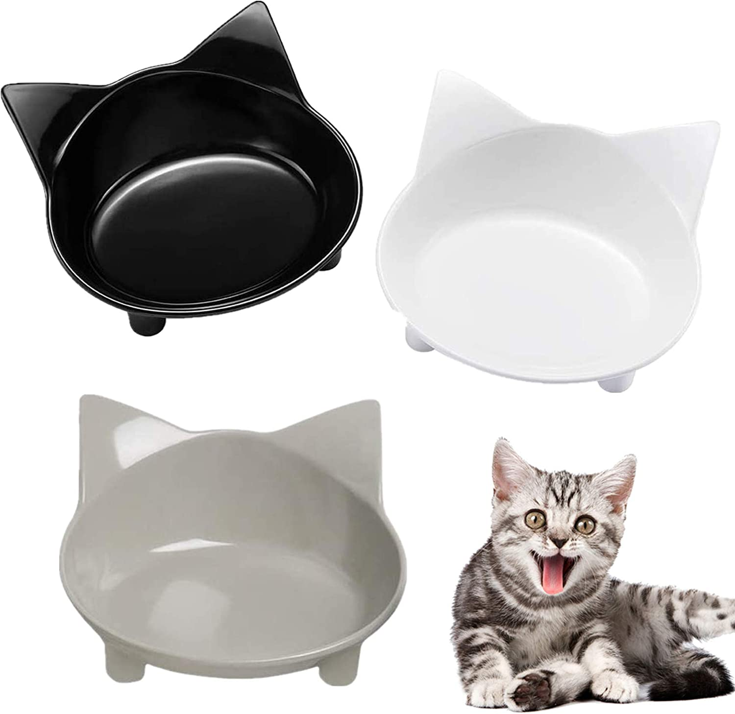 3 PCS Cat Bowls,Cilkus Cat Food Bowls Wide Cat Feeding Bowl for Relief of Whisker Fatigue Pet Food & Water Bowls for Small Dogs Cats and Pets(Safe Food-Grade Material)