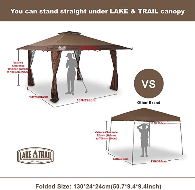 LAKE & TRAIL - Toldo con Bloqueo UV de 13 pies x 13 pies con Kit ...