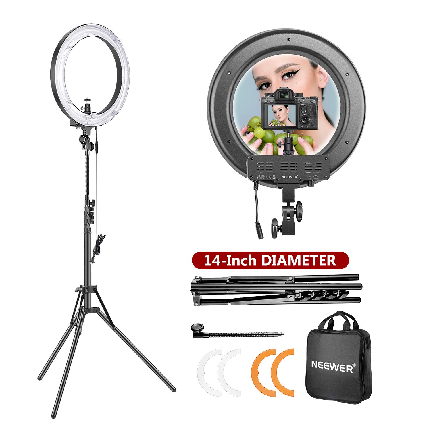 Mua Neewer 14-inch Outer 12-inch Inner Dimmable Ring Light Lighting Kit -  50W Fluorescent Continuous Ring Light, Light Stand, Ball Head,Filter for  Portrait Makeup Photography YouTube Studio Video Shooting trên Amazon Mỹ
