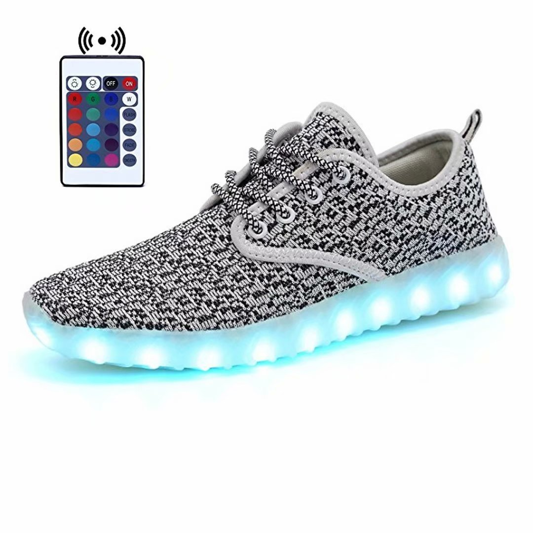 KEALUX 7 Color USB Charge Flashing LED Boys Girls Kids Breathe Noctilucent Sport Shoes Low Top Lace Up Fabric Sneakers With Remote Control-23(Grey&White)