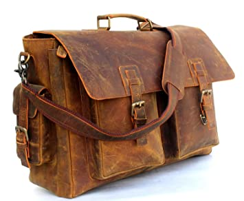 Image Unavailable. Image not available for. Color  16 Inch Men s Retro Buffalo  Hunter Leather Laptop Messenger Bag Office Briefcase College ... 122a9f111a4f9