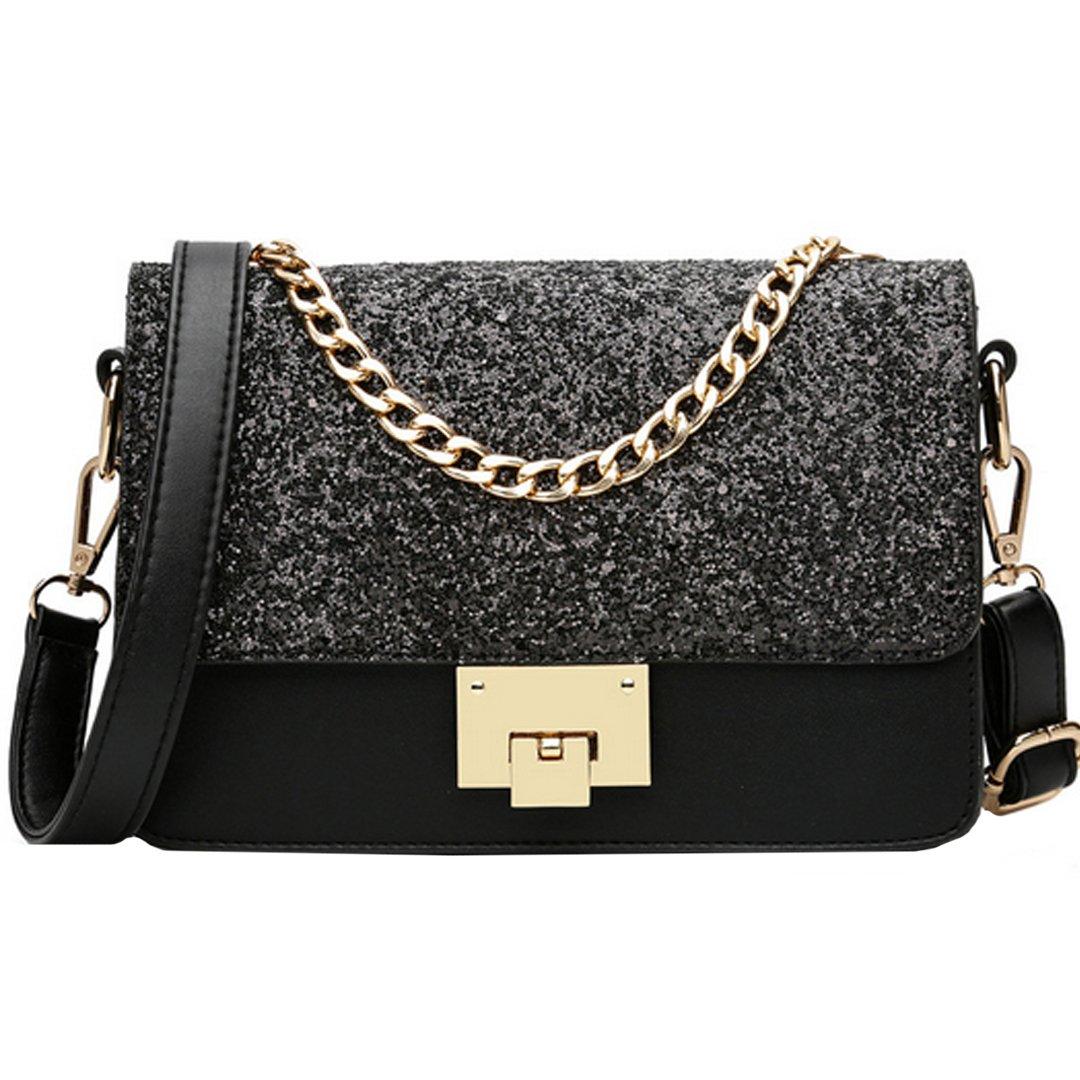 25df47ec104e Heidi Bag Women Sequins Handbag Top Chain Tote Multi Compartment ...