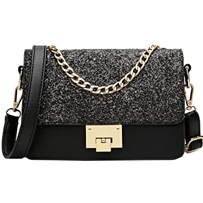 19d38e055d Felice Women Glitter Sequins Leather Crossbody Bag Shoulder Bag Multi  Compartment Chain Tote Handbag Purse (