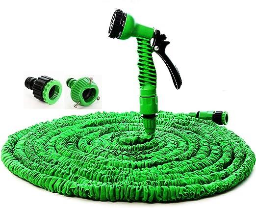 Pistola 7 en 1 de 25 pies, 50 pies, manguera de jardín extensible de látex tubo mágico flexible manguera para jardín coche manguera de plástico azul manguera de jardín, 75 pies, verde: Amazon.es: Jardín