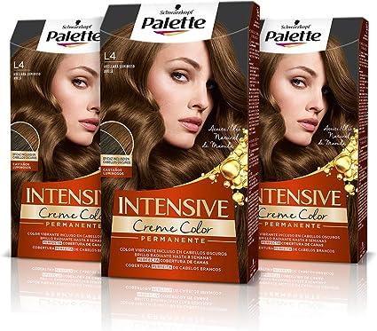 Schwarzkopf Palette Intensive Creme Color – Tono L4 cabello Avellana Luminoso (Pack de 3) - Coloración Permanente de Cuidado con Aceite de Marula, ...
