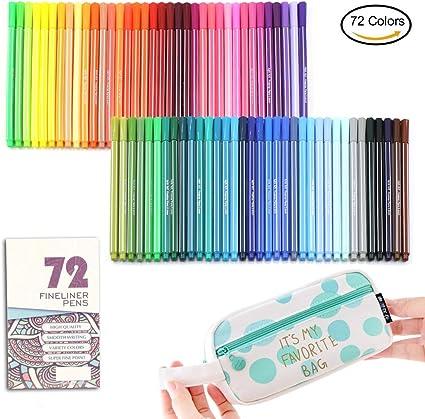laconile 72 – Rotulador de color PENS Set con un estuche de color, Fine rotuladores de dibujo para colorear para adultos Libros escritura y bala diario (0.4 mm rotuladores, colores únicos): Amazon.es:
