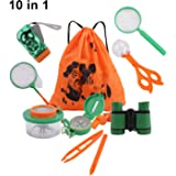 10 Pack Outdoor Explorer Kit, DesignerBox Kids Adventurer Exploration Equipment Set with Binoculars, Flashlight, Compass, Magnifying Glass, Backpack Bag, Bug Collector, Whistle, Bug Catcher, Butterfly Net & Tweezers for Camping, Hunting, Hiking & Bird Watching