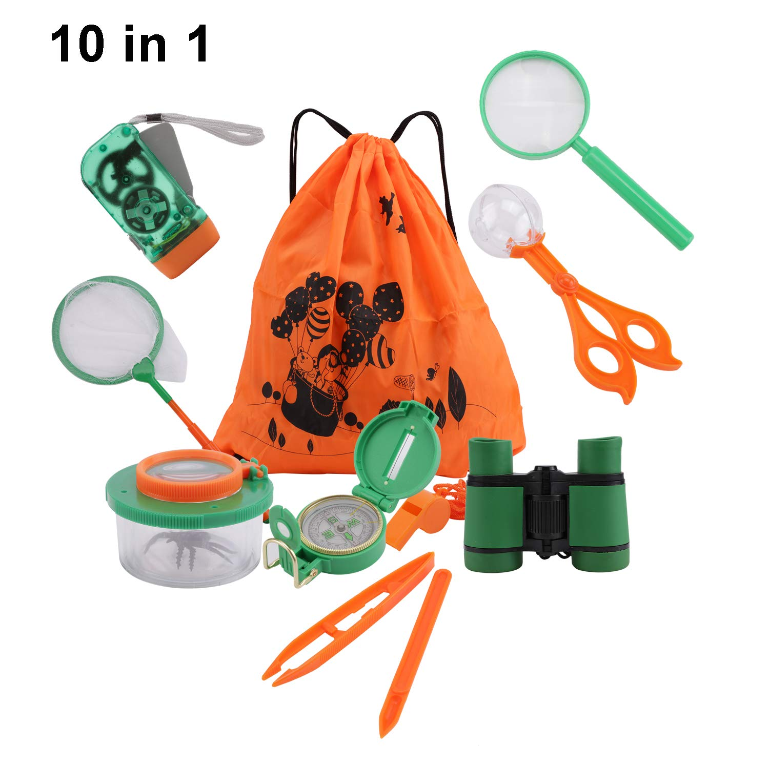 10 Pack Outdoor Explorer Kit, DesignerBox Kids Adventurer Exploration Equipment Set with Binoculars, Flashlight, Compass, Magnifying Glass, Backpack Bag, Bug Collector, Whistle, Bug Catcher, Butterfly Net & Tweezers for Camping, Hunting, Hiking &