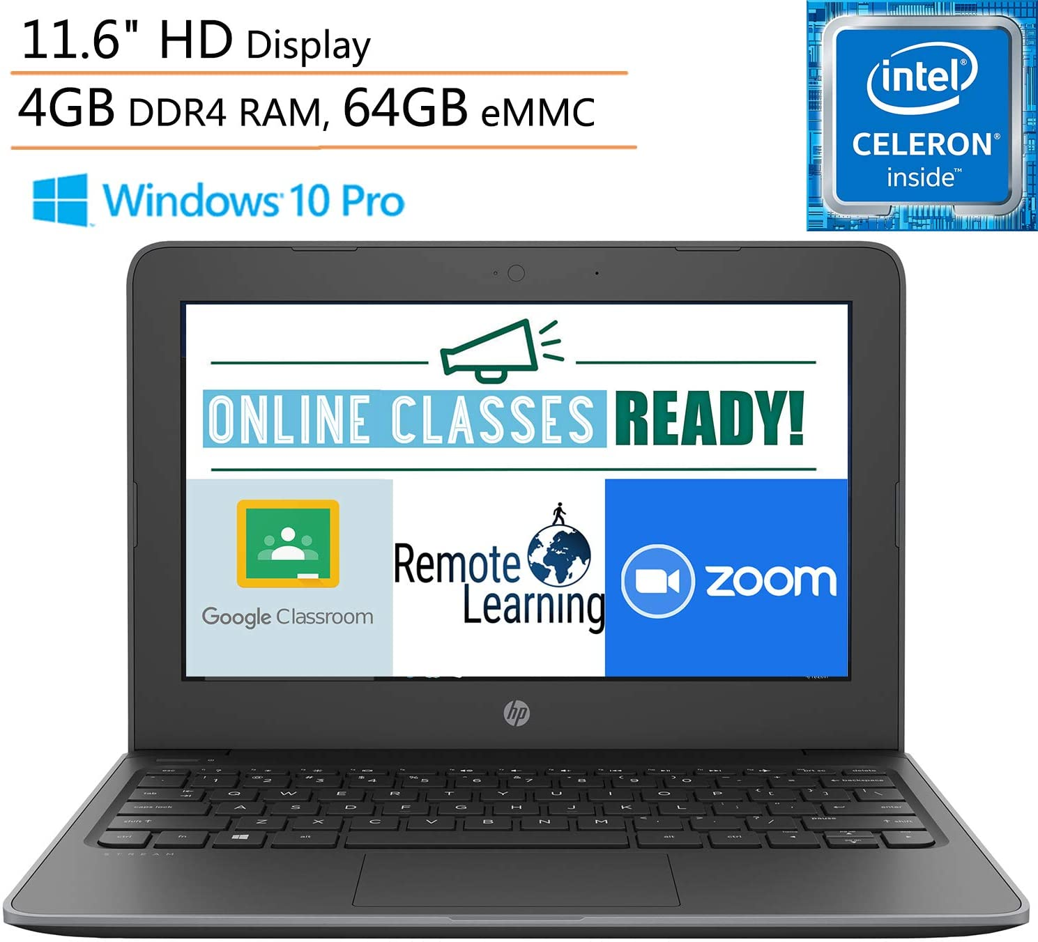 "HP Stream 11 Pro G5 11.6"" Business Laptop Computer, Intel Celeron N4000 up to 2.6GHz, 4GB DDR4 RAM, 64GB eMMC, 802.11AC WiFi, Microphones, Webcam, Windows 10 Pro, iPuzzle Mouse Pad, Online Class Ready"