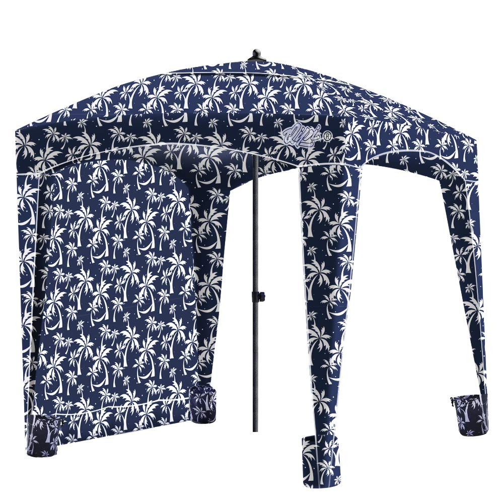 Qipi Beach Cabana - Easy to Set Up Canopy, Waterproof, Portable 6' x 6' Beach Shelter, Included Side Wall, Shade with UPF 50+ UV Protection, Ultimate Sun Umbrella - for Kids, Family - Palm Night by Qipi