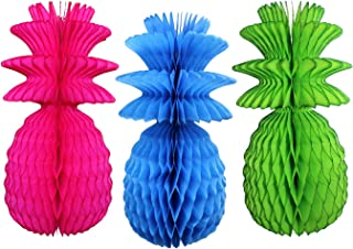 product image for Large Solid Colored 13 Inch Honeycomb Pineapple Party Decoration Kit (Cerise, Turquoise, Lime)