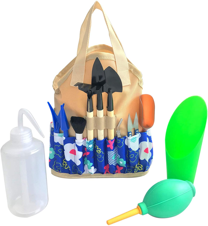 Succulent Kit Organizer Bag Gardening Tool Set | Terrarium Supplies Mini Succulent Garden Tool Kit | Heavy Duty Succulent Bonsai Planter Set Indoor Gardening | Fairy Zen Kit for Soil Fertilizer Seeds
