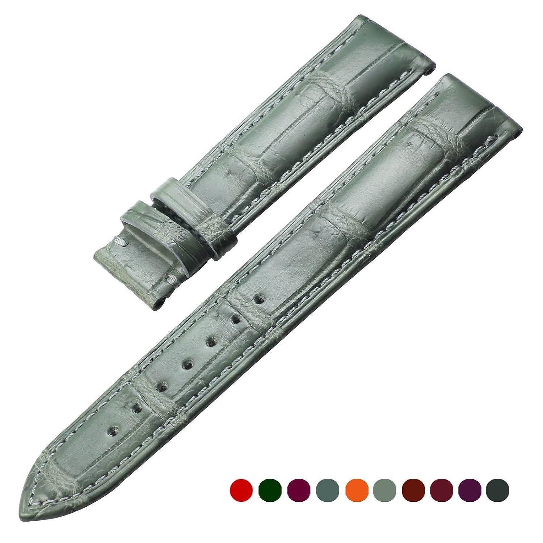 zlimsn 10色ハンドメイドカスタマイズGenuine Crocodile腕時計レザー時計バンド交換ストラップ10 mm 11 mm 12 mm 13 mm 14 mm 15 mm 20 mm 22 mm-26 mm 21mm ライトグリーン 21mm|ライトグリーン ライトグリーン 21mm B078SSR8W5