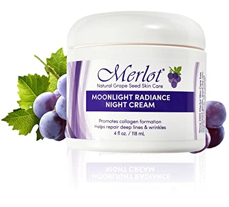 Merlot Anti-Aging Moonlight Radiance Night Cream Promotes Collagen Formation reduces lines and wrinkles