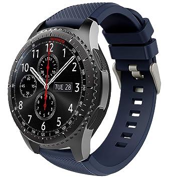 TiMOVO Pulsera para Samsung Gear S3 Frontier/Galaxy Watch 46mm, Pulsera de Silicona, Correa de Reloj Deportivo, Banda de Reloj de Silicona - Azul ...
