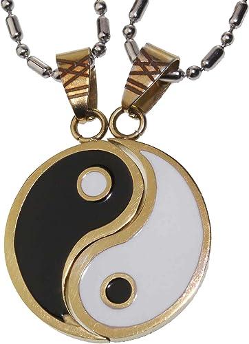 Deux pièces noir et blanc yin yang signe collier collier