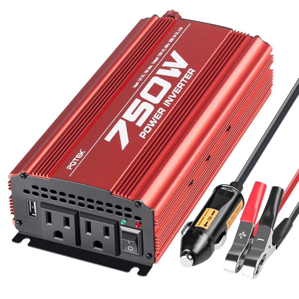 POTEK 750W Power Inverter DC 12 V to AC 115V Converter with 2A USB Charging Port by POTEK