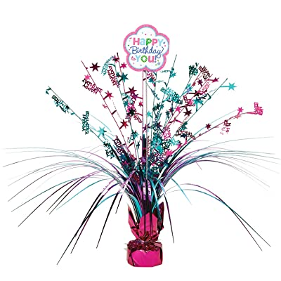 "amscan Spray Centerpiece | Purple & Teal Collection | Birthday, Multicolor, 18"": Toys & Games"