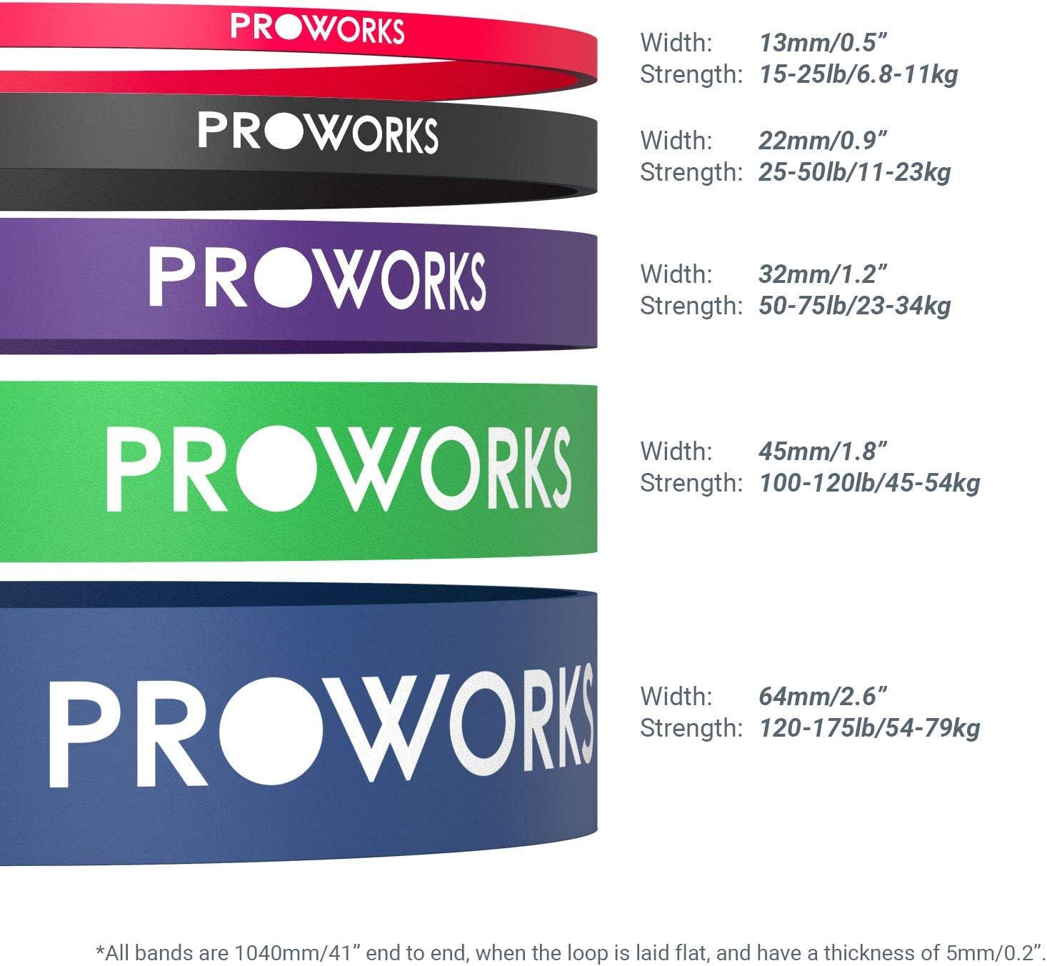 Elastique Sport Fitness pour exercices de traction Proworks Elastique Musculation Bande de Resistance ultra-r/ésistantes avec manuel dentra/înement Disponible en 5 niveau de r/ésistance diff/érentes des jambes et des bras