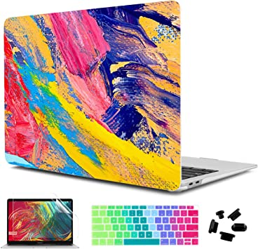 Ultra Slim Hard Shell Case and Keyboard Cover Screen Protector for New MacBook Air 13 2018 with Retina Display Fashion Lace TwoL Case for MacBook Air 13 A1932