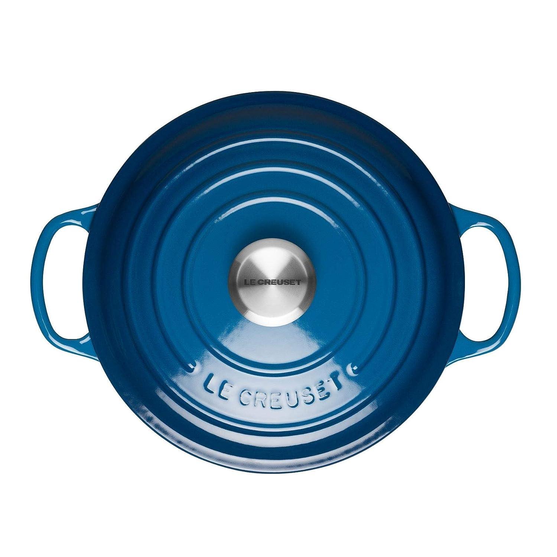 LE CREUSET Evolution Cocotte con Tapa, Redonda, Todas Las Fuentes de Calor Incl. inducción, 6,7 l, Hierro Fundido, Azul Marseille, 28 cm