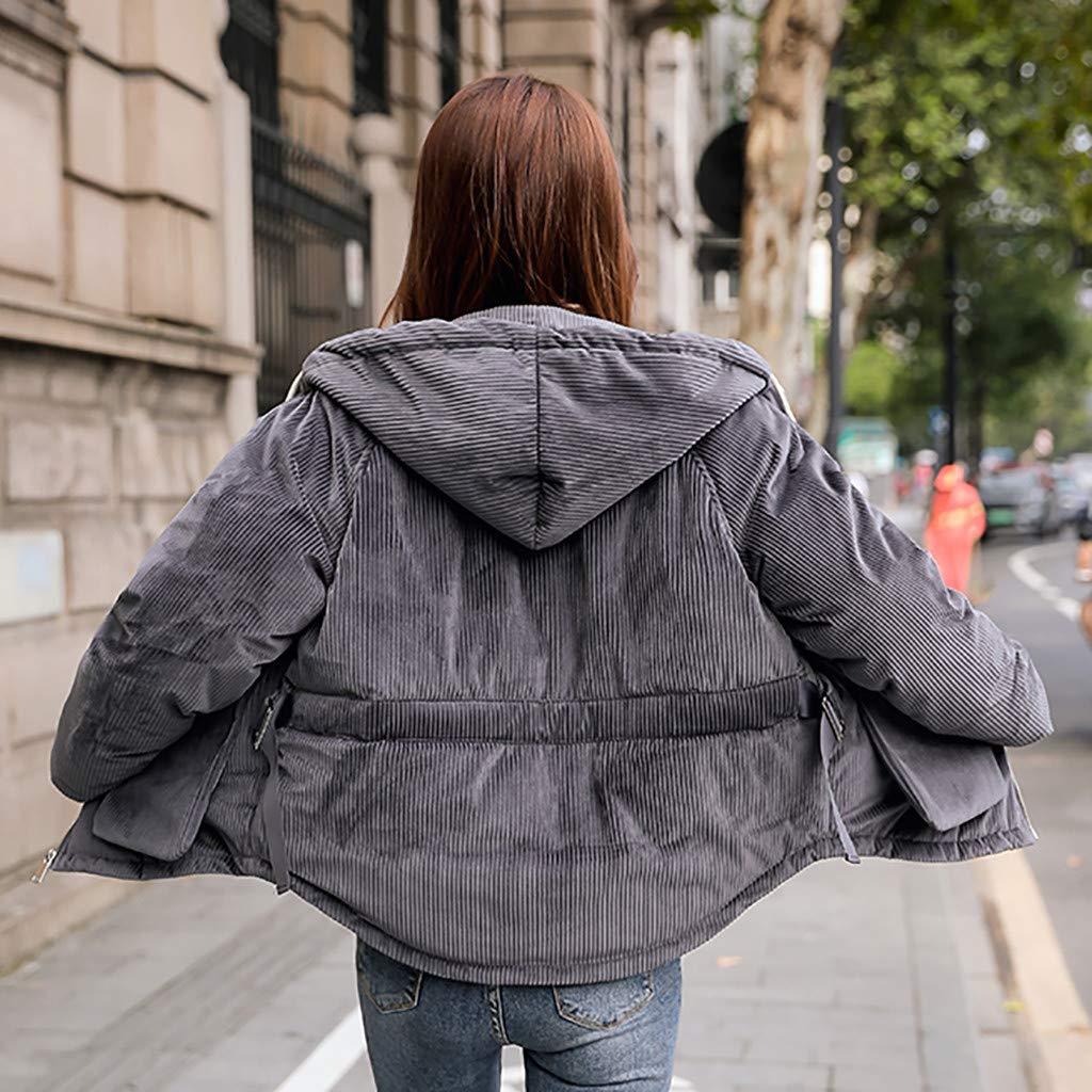 gepolsterte Kapuzenjacke aus Baumwolle mit Warmer Baumwolljacke WRWYOSF Mantel Blusen Frauen Winter warme Mantel Taschen mit Kapuze starker Warmer Loser Jacken kurzer Mantel Kurze