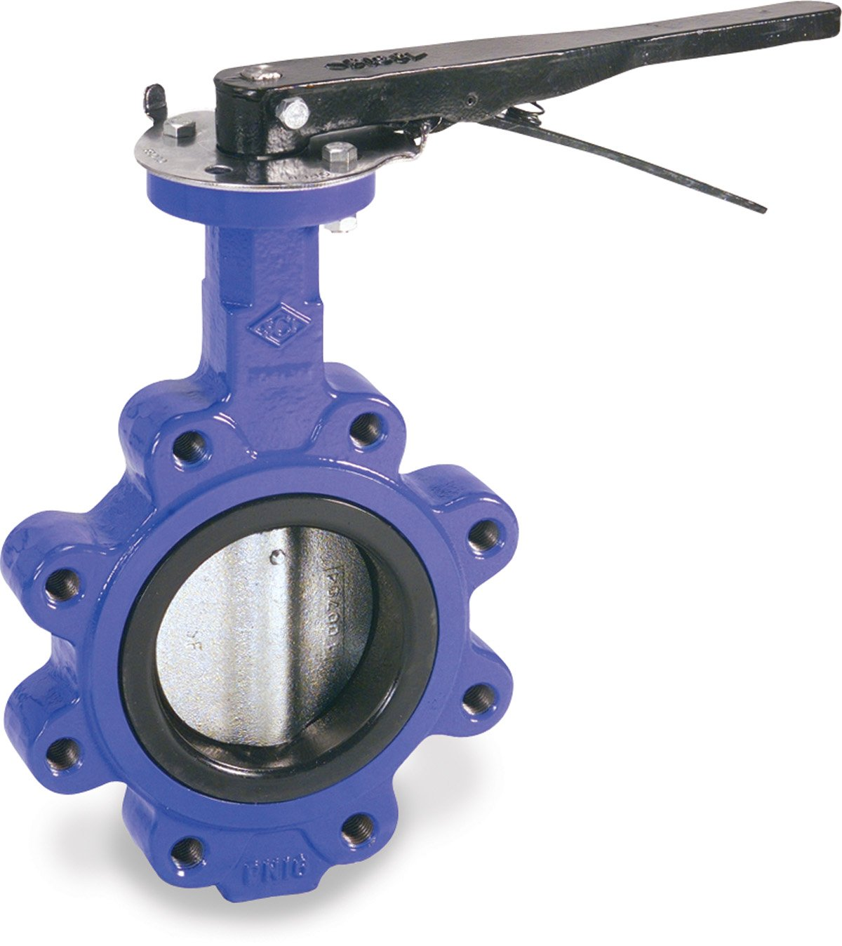 Smith-Cooper International 160 Series Iron Butterfly Valve, Lug Style, Nickel Plated Ductile Iron Disc, Buna-N Seat, Lever Handle, 6''
