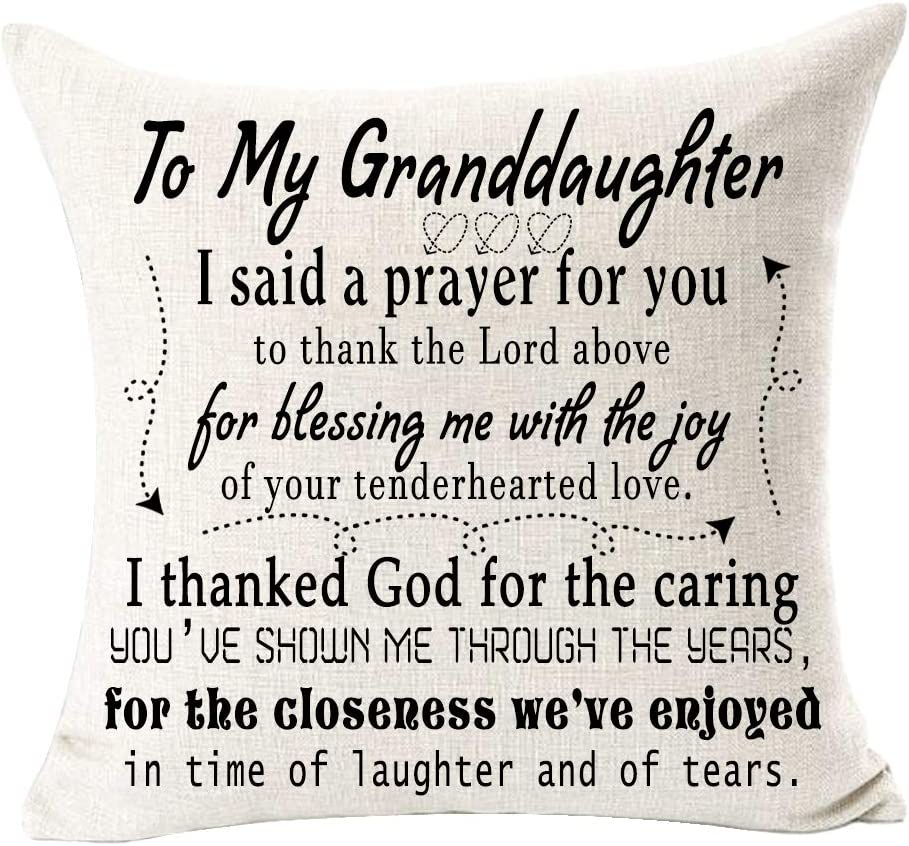 Amazon Com Andreannie To My Granddaughter I Said A Prayer To You Cotton Linen Throw Pillow Case Cushion Cover Decorative For Sofa Living Room Square 18 X 18 Inches H Home Kitchen