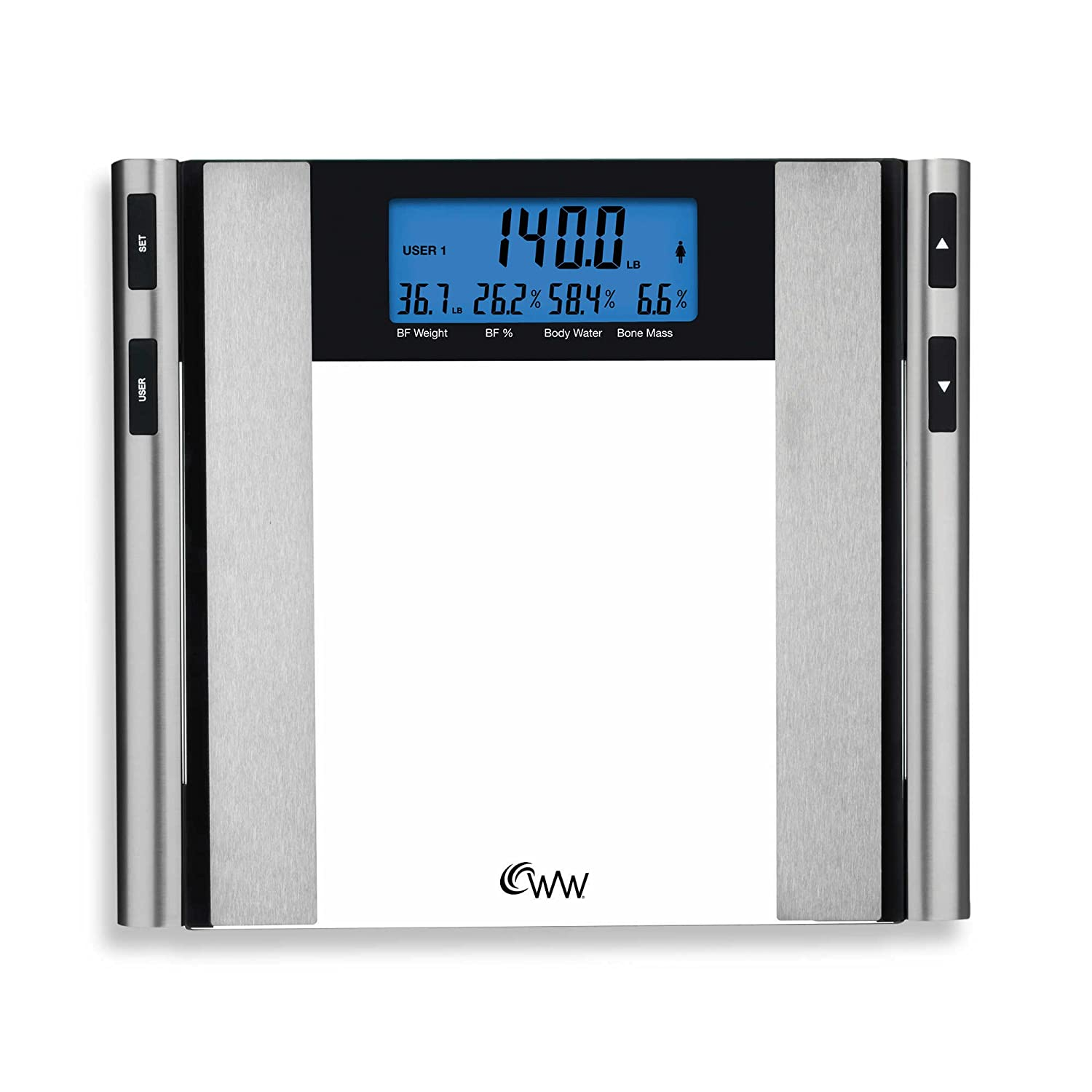 2 x 5 Two-Line Display Glass Satin Nickel Body Analysis Comprehensive Bathroom Scale with BIA technology by Weight Watchers