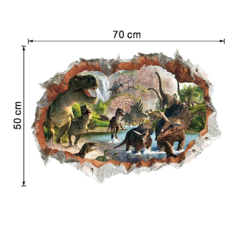 Dragon Honor Many Dinosaur Cracked Wall 3D Mural Wall Sticker Decals for Kids Room Bedroom Home Decor 14184