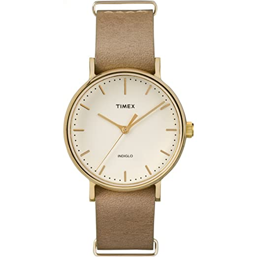 Timex Unisex TW2P98400 Fairfield 37 Taupe Leather Slip-Thru Strap Watch best minimalist watches for women