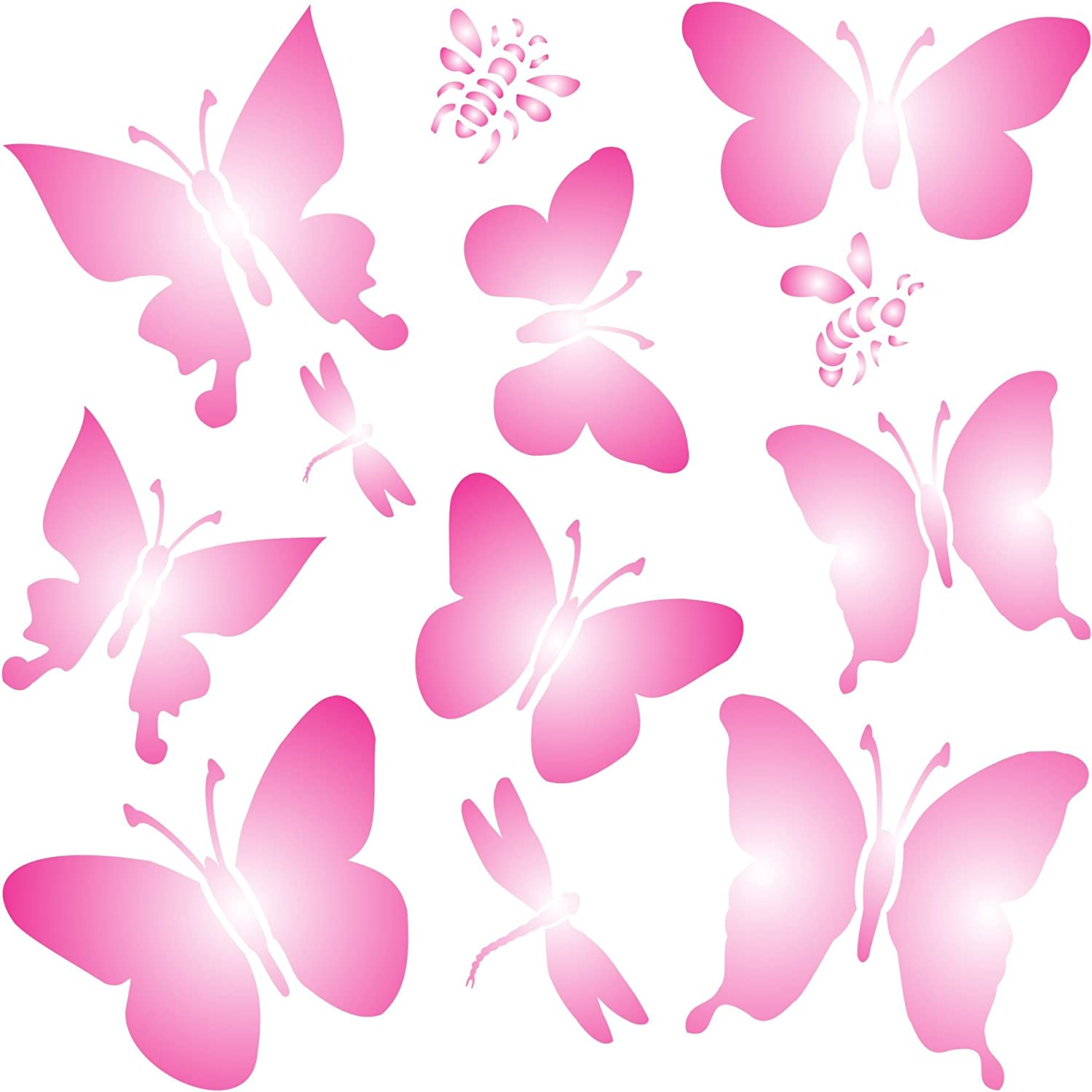 Butterflies Stencil, 8.5 x 8.5 inch (L) - Mix Media Layering Butterfly Stencils for Painting Template