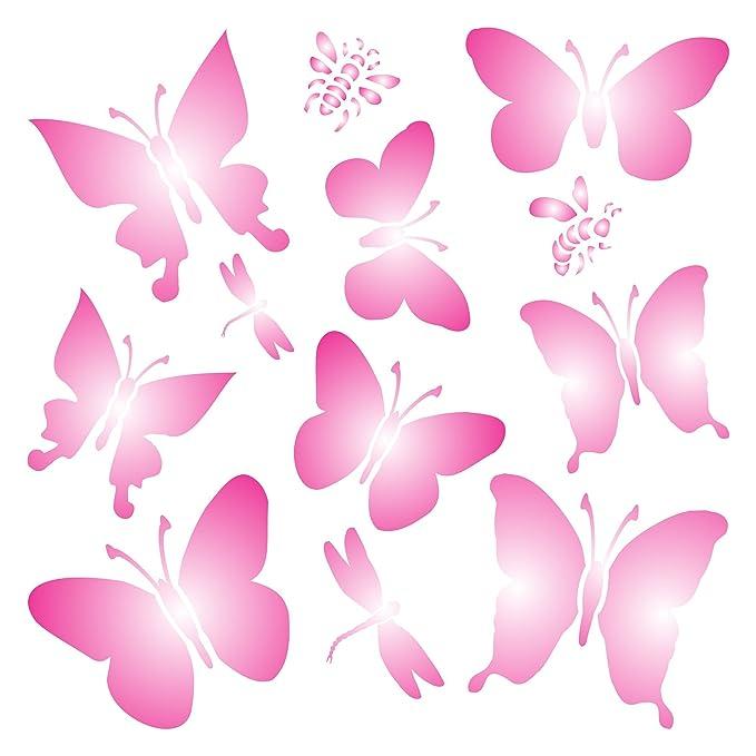 Plantilla de mariposas - Plantilla de pared reutilizable de libélulas mariposas - Uso en proyectos de papel, álbumes de recortes, paredes suelos, tela, ...