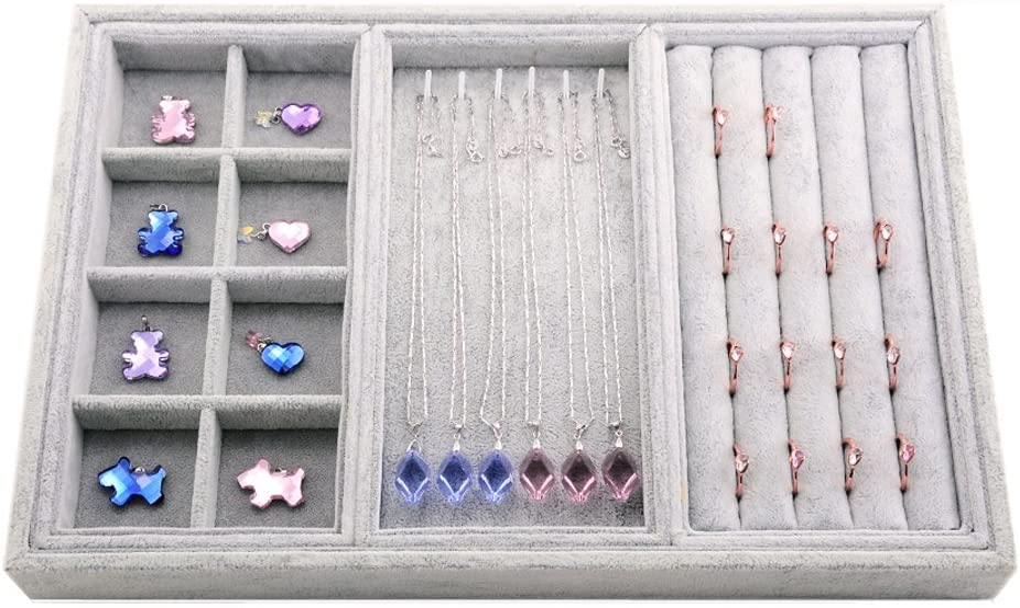 Oirlv Velvet Drawer Jewlery Organizer Tray Watch Rings Display Showcase Multifunction,14×9.5inch