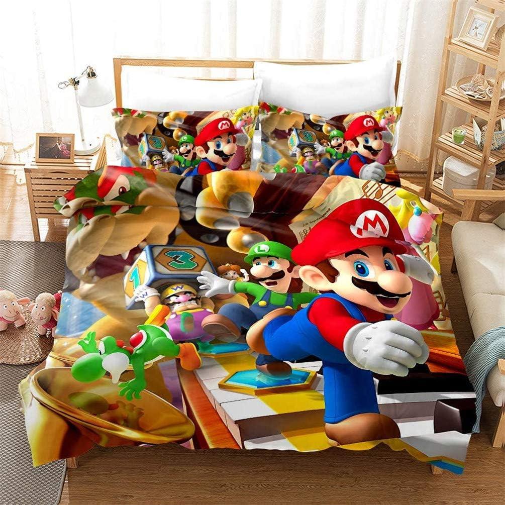 Mario #1,135 x 200 cm EA-SDN Juego de Ropa de Cama Super Mario Game ? Funda n/órdica y Funda de Almohada impresi/ón Digital 3D Microfibra Funda de edred/ón de 135 x 200 cm