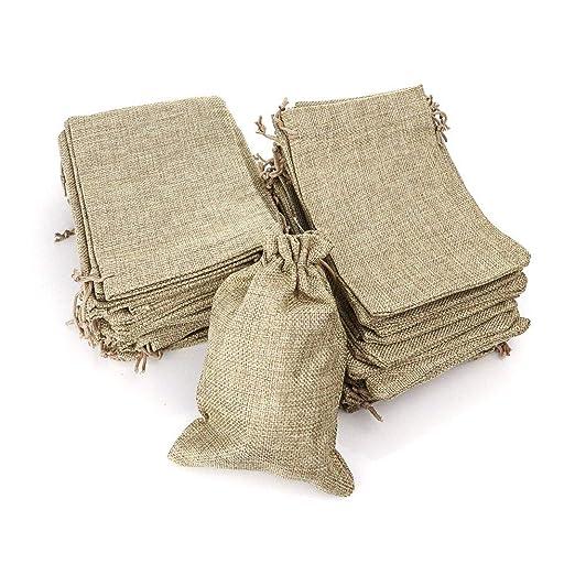 RUBY - 50 Bolsitas saco de yute para regalo joyeria, bolsita para regalo de tela de arpillera, bodas, comuniones, saco navidad, reuniones, artesanía, ...