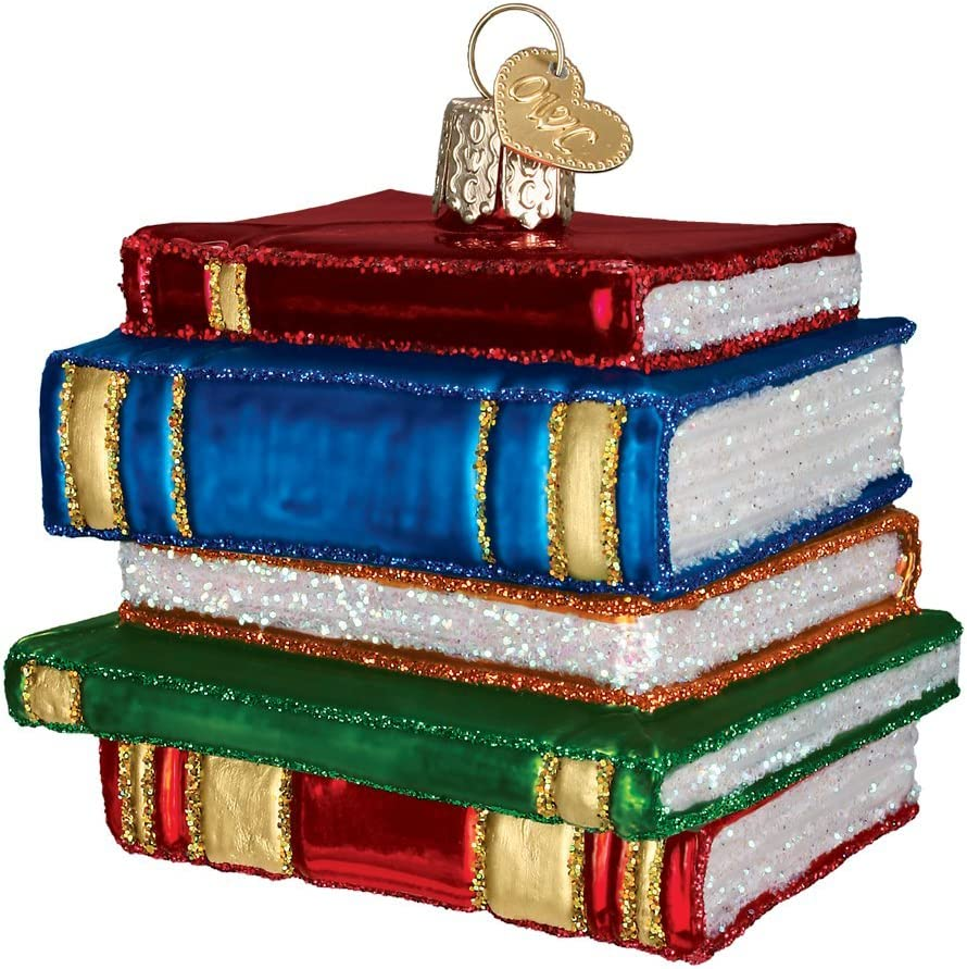 Old World Christmas Stack of Books Glass Blown Ornaments for Christmas Tree