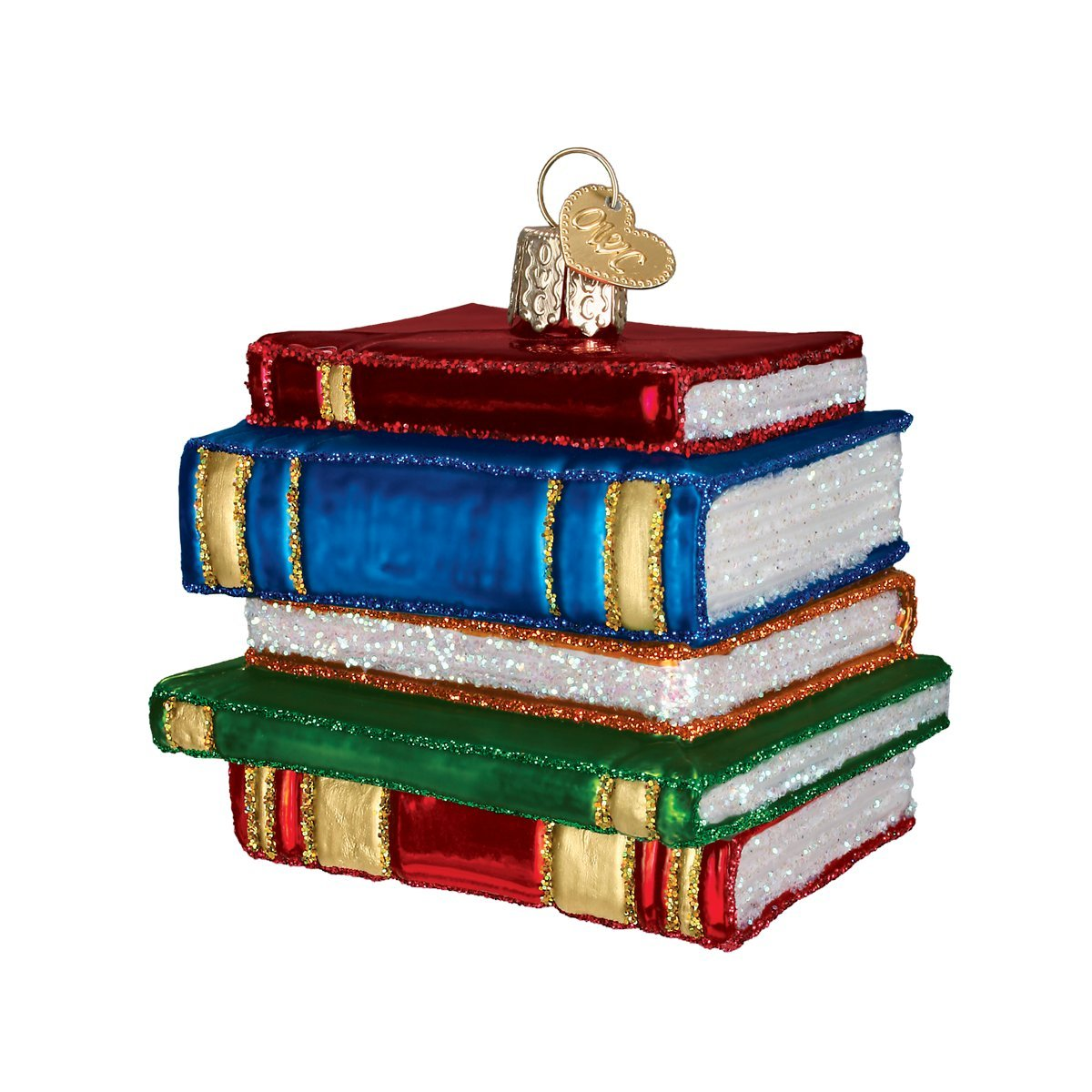 Old World Christmas Ornaments: Stack Of Books Glass Blown Ornaments for Christmas Tree