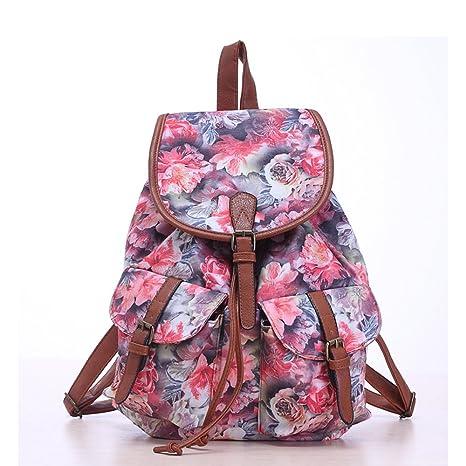 4ba024ff6 Amazon.com: Women Floral Print Casual Canvas Backpack Rucksack Cute ...
