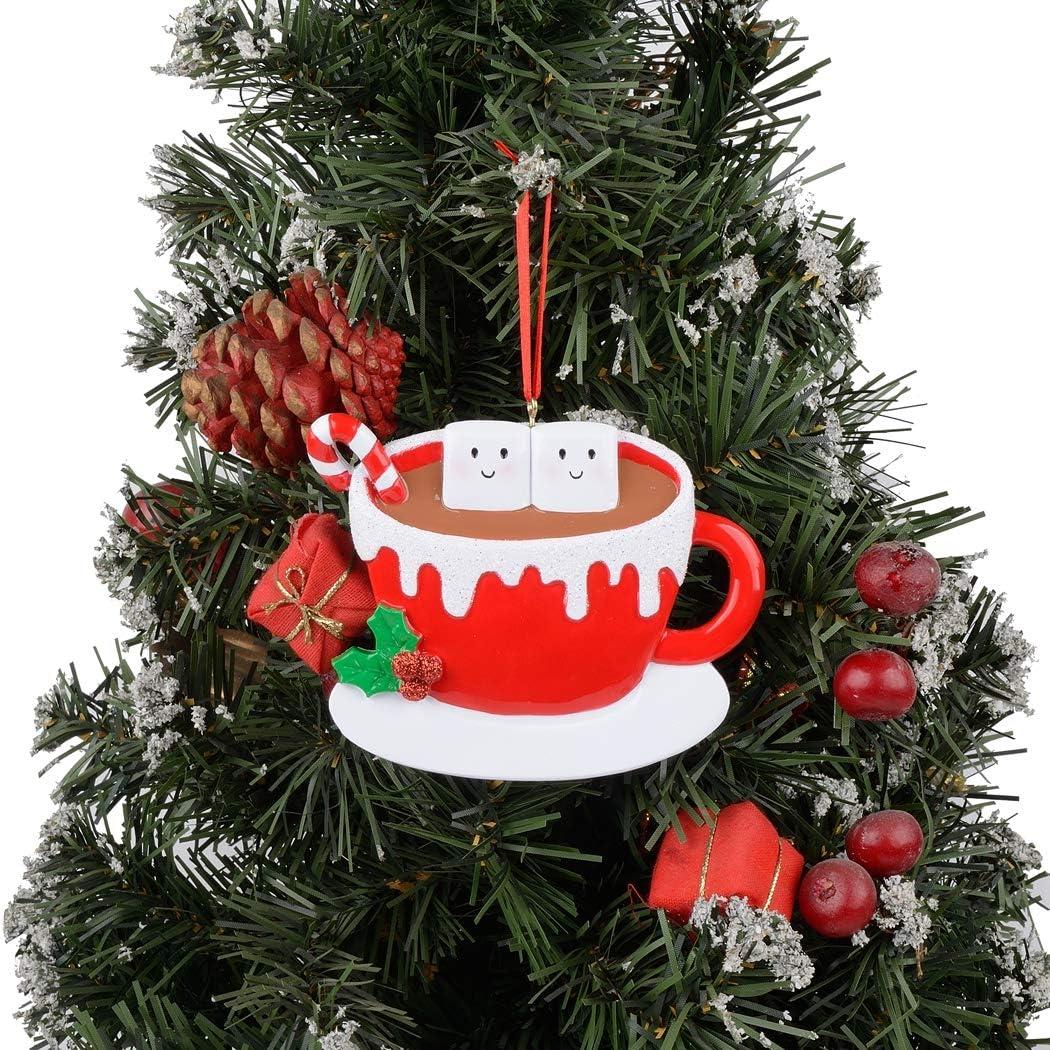MAXORA Marshmallow Mug Personalized Family of 2 Christmas Ornament Free Personalization